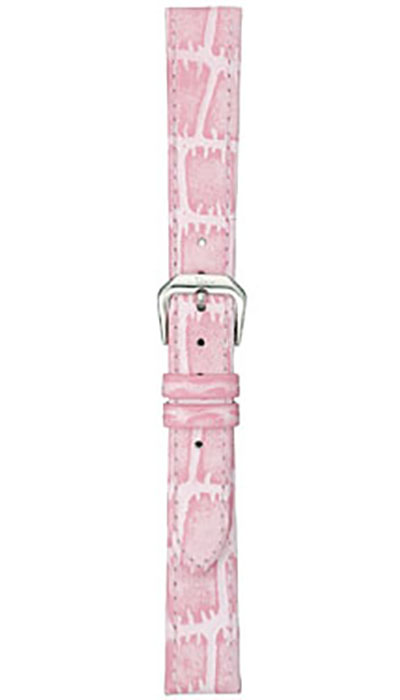 Leather strap, pink cow hide, alligator embossing (ladies)